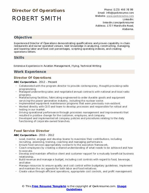 Director Of Operations Resume Model