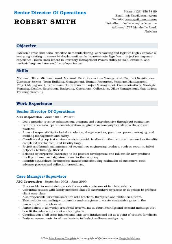 Senior Director Of Operations Resume Example