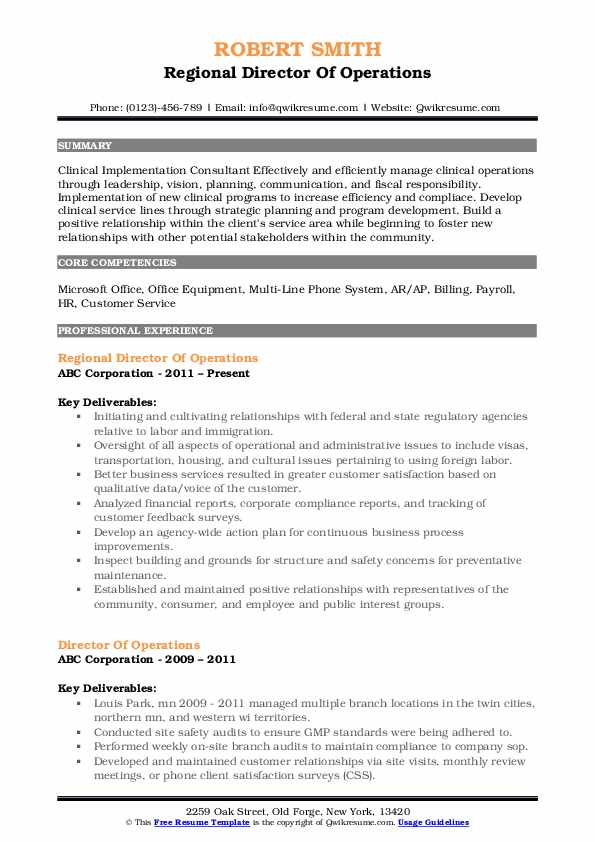 Regional Director Of Operations Resume Example