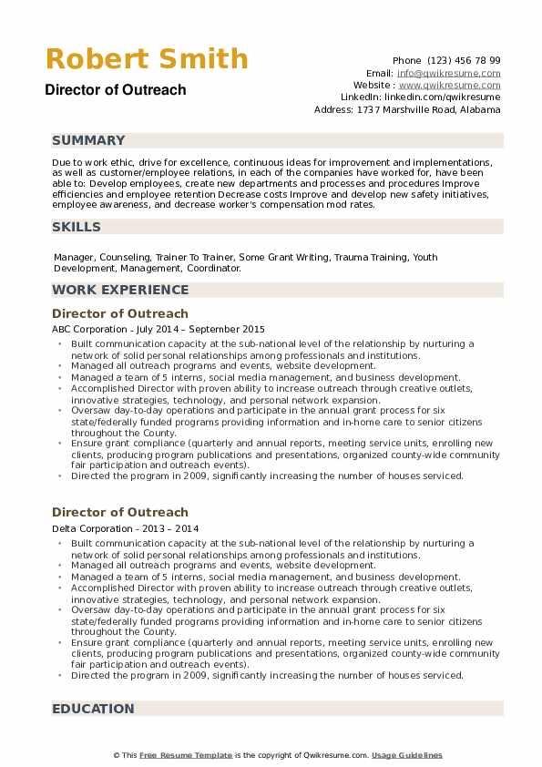 Director of Outreach Resume example