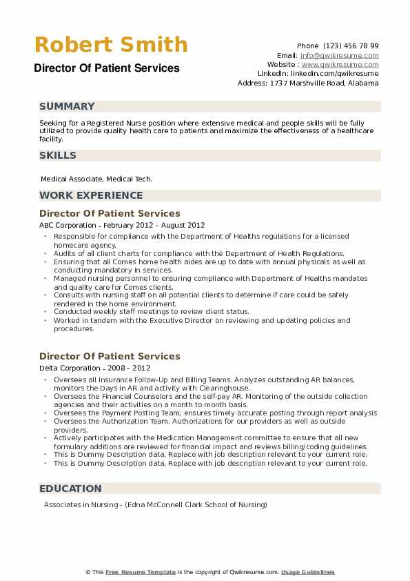 Director Of Patient Services Resume example