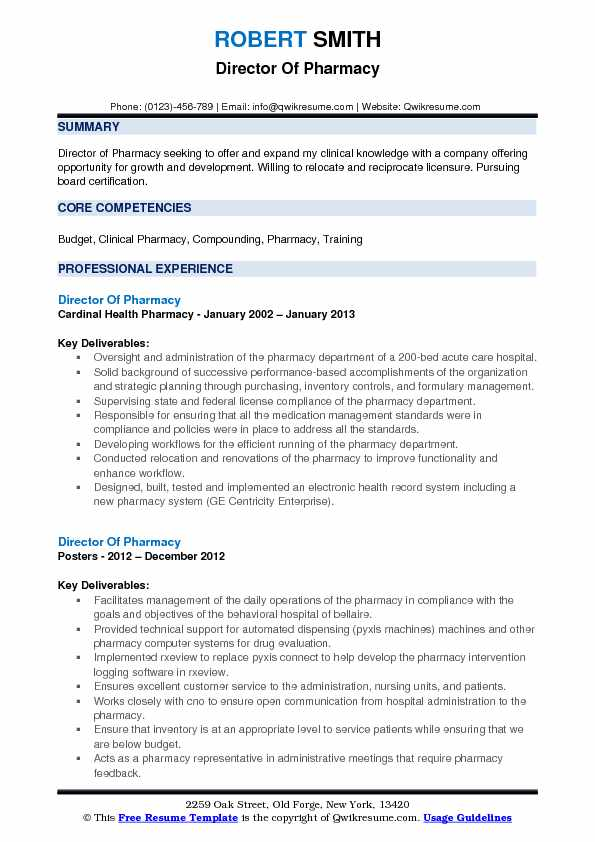 Director Of Pharmacy Resume Template