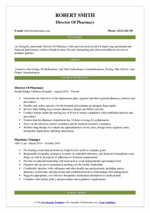 Director Of Pharmacy Resume Format
