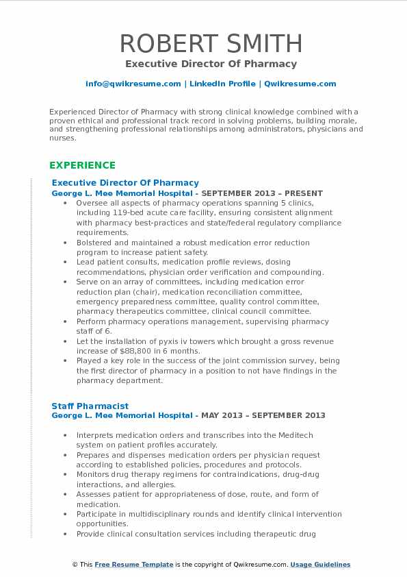 Executive Director Of Pharmacy Resume Format