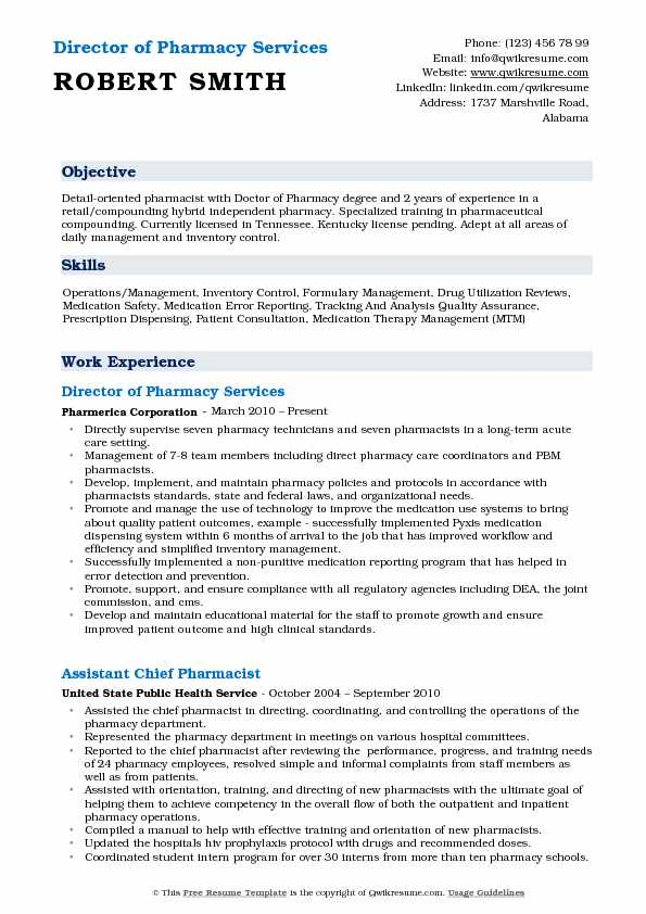 Director Of Pharmacy Resume Samples Qwikresume