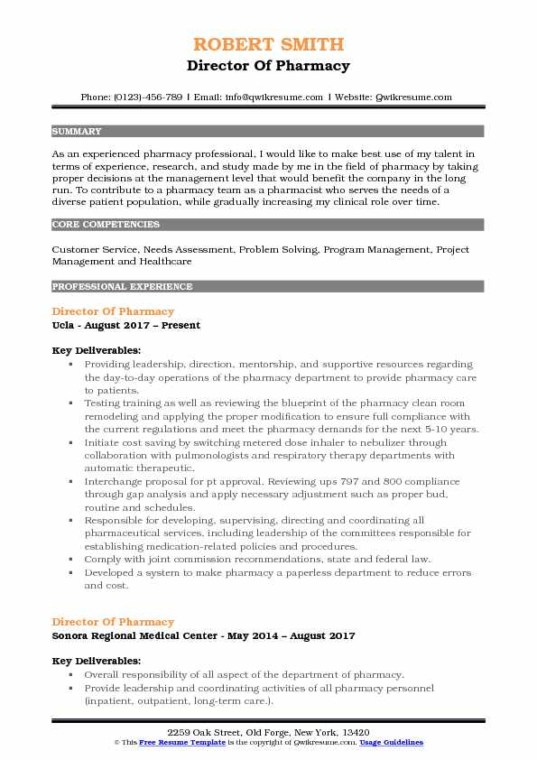 Director Of Pharmacy Resume Example