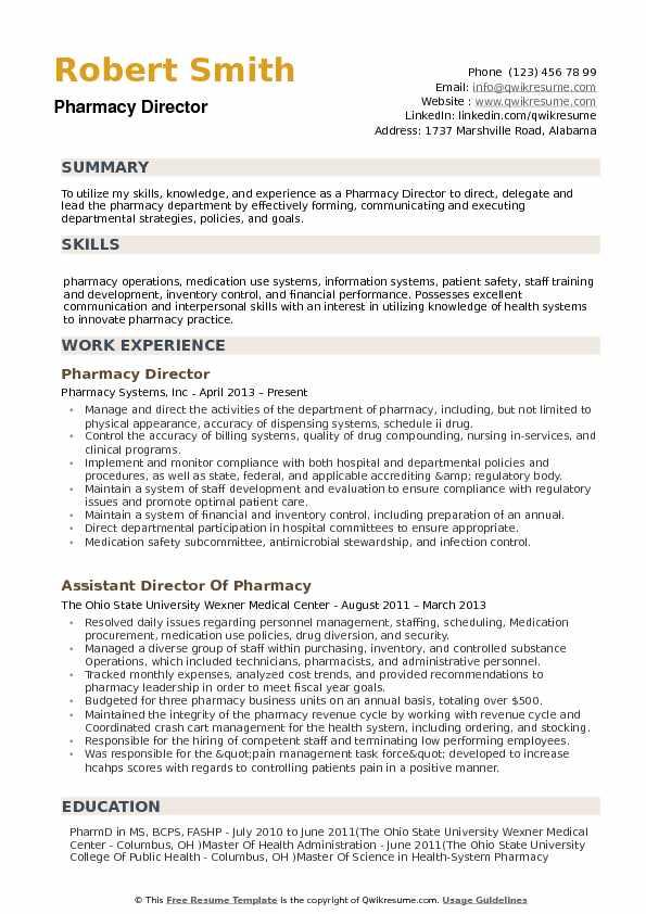 Pharmacy Director Resume Model