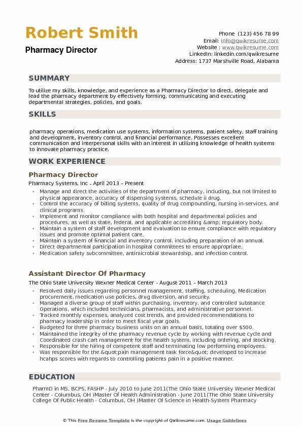 director of pharmacy resume samples