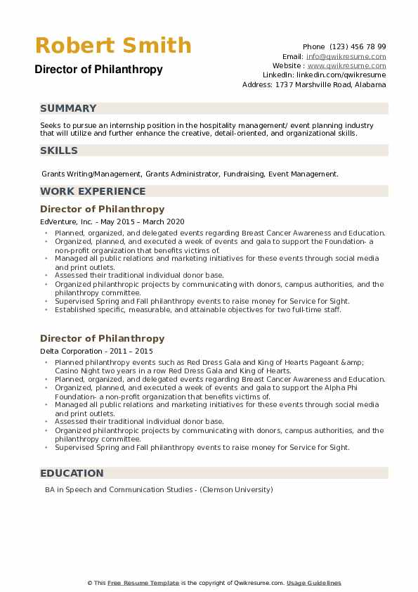 Director of Philanthropy Resume example