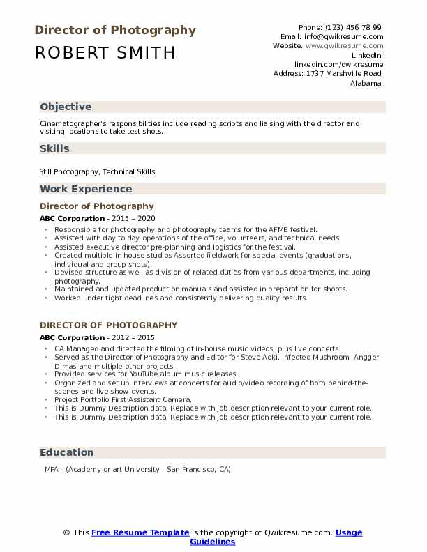 Director Of Photography Resume example