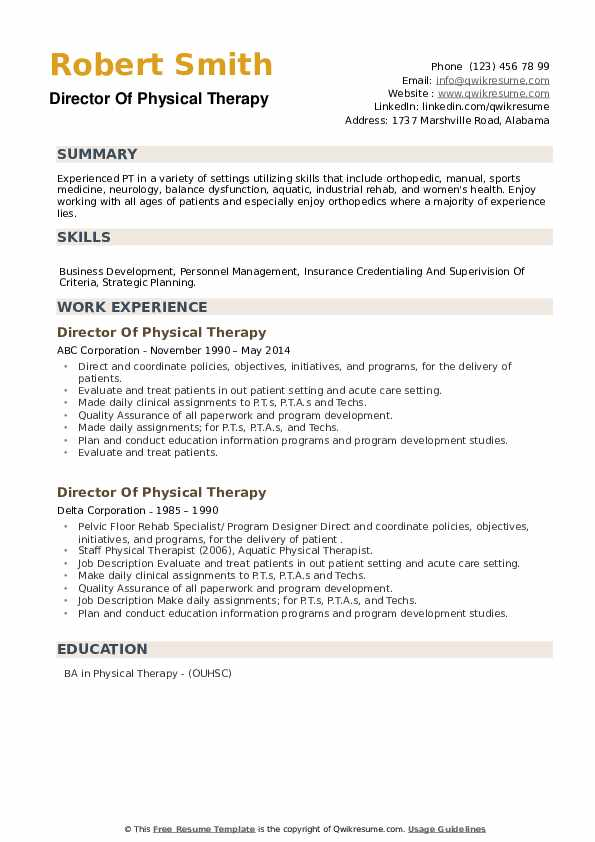 Director Of Physical Therapy Resume example