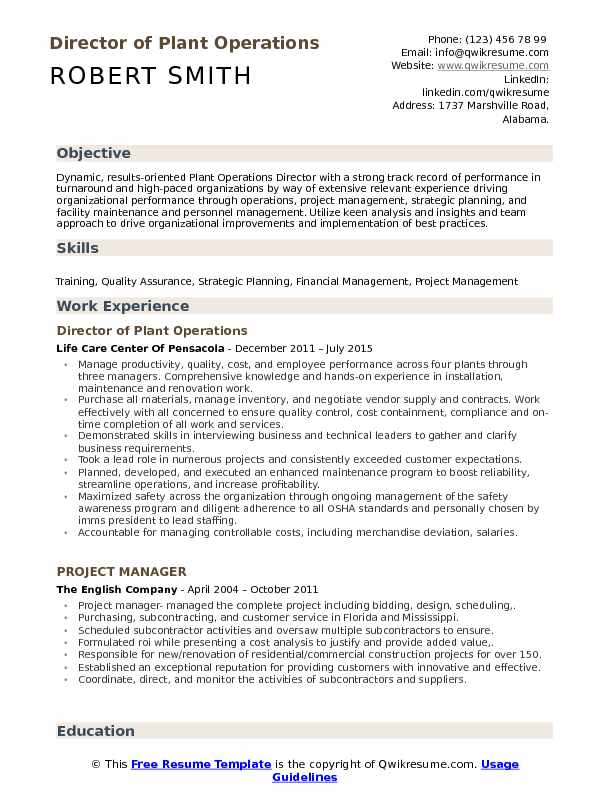 Director of Plant Operations Resume Model