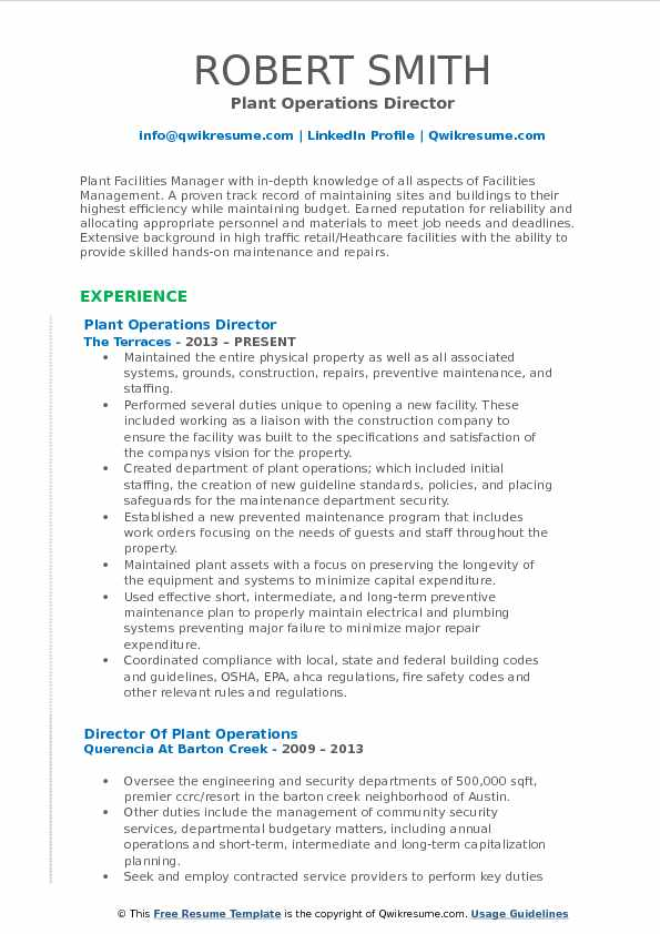 Plant Operations Director Resume Sample