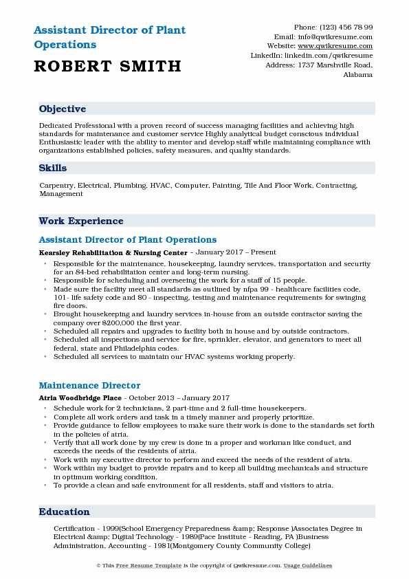 Assistant Director of Plant Operations Resume Example