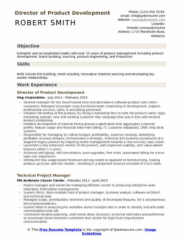 director of product development resume sample