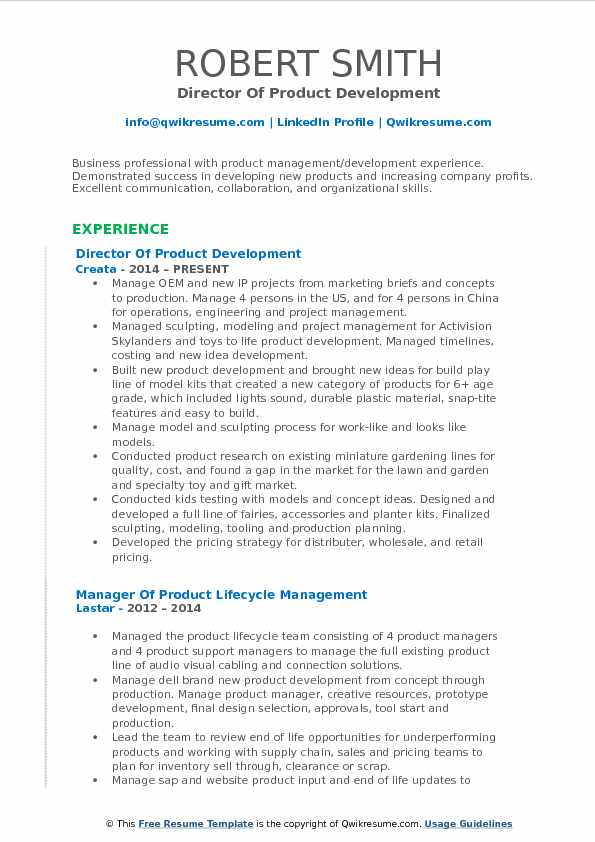 director of product development resume format
