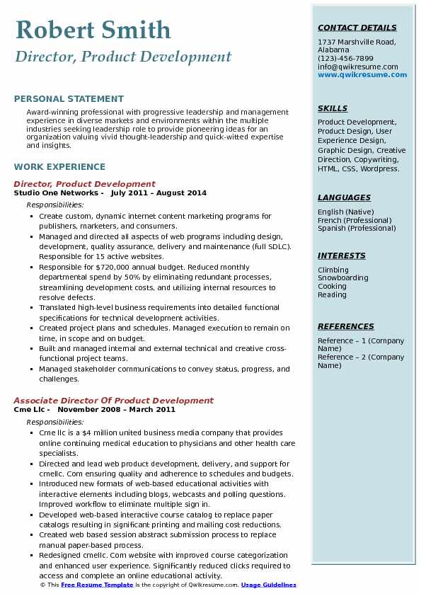 Director, Product Development Resume Template