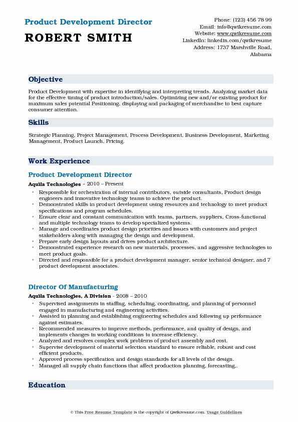 Product Development Director Resume Sample