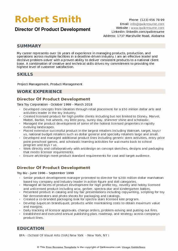 director of product development resume example