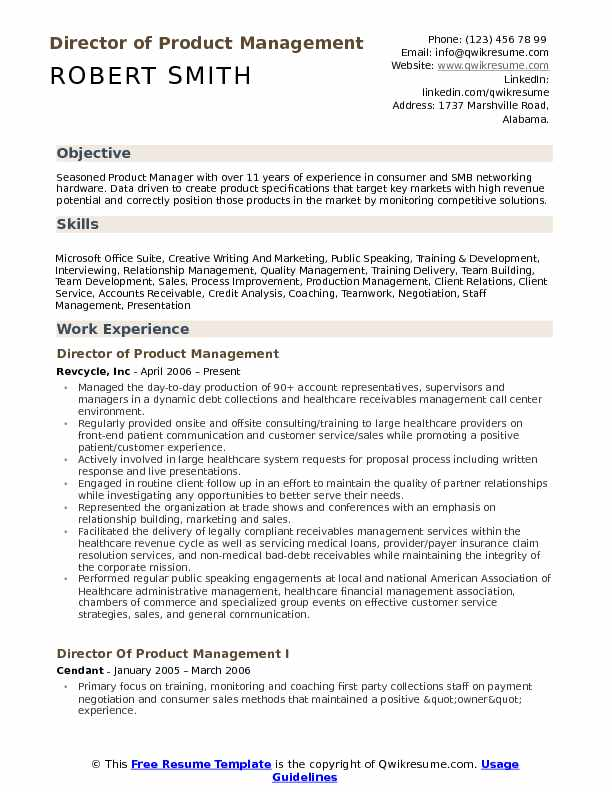 Product Management Resume | Director Of Product Management Resume Samples Qwikresume
