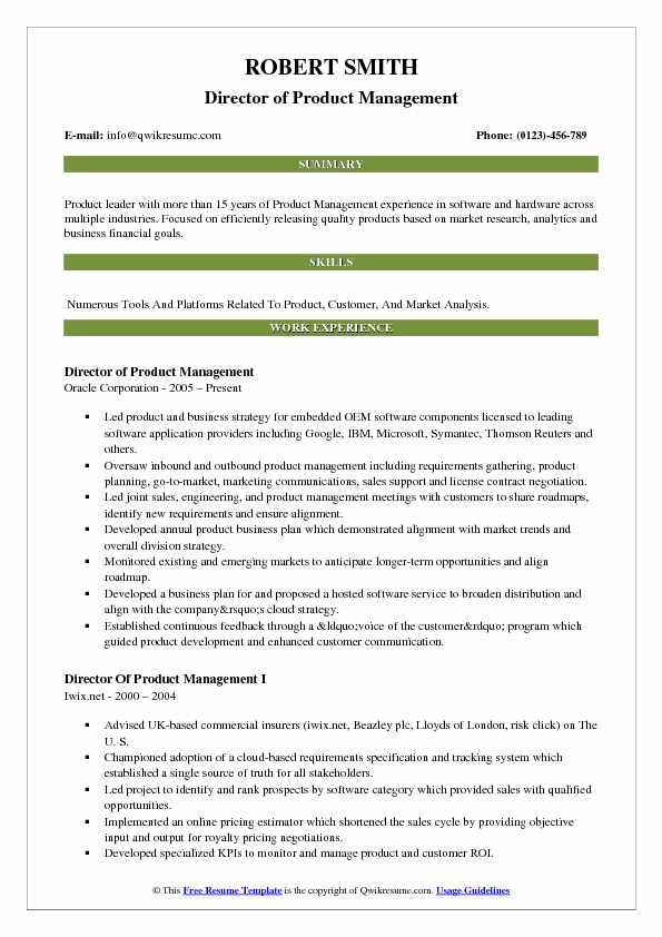 Director of Product Management Resume Model