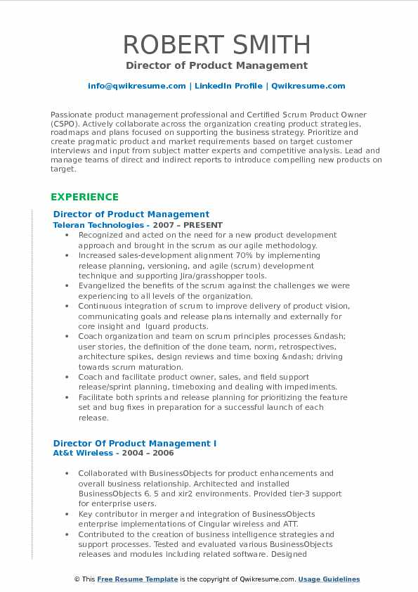 director of product management resume samples