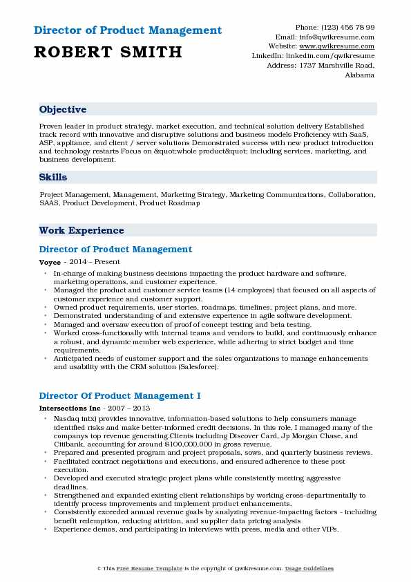 Director of Product Management Resume Format