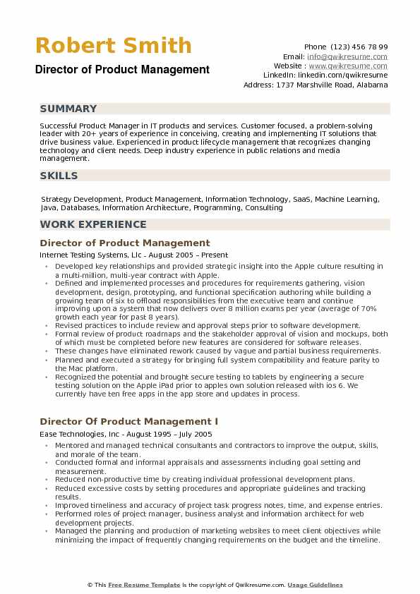 Director Of Product Management Resume Example