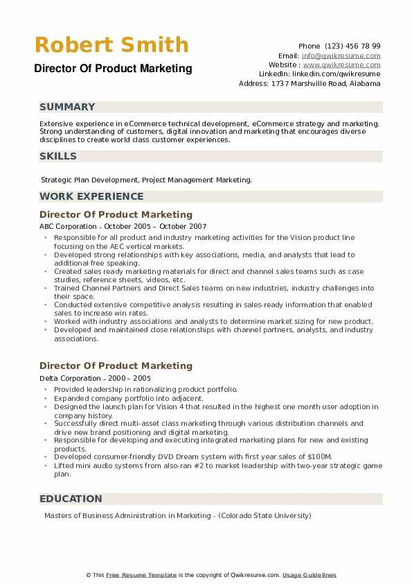 Director Of Product Marketing Resume example