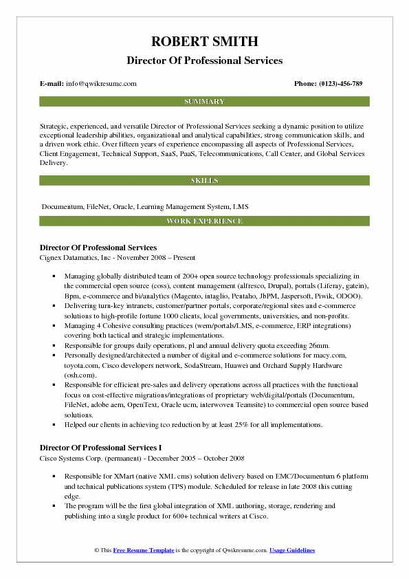 Director Of Professional Services Resume Model
