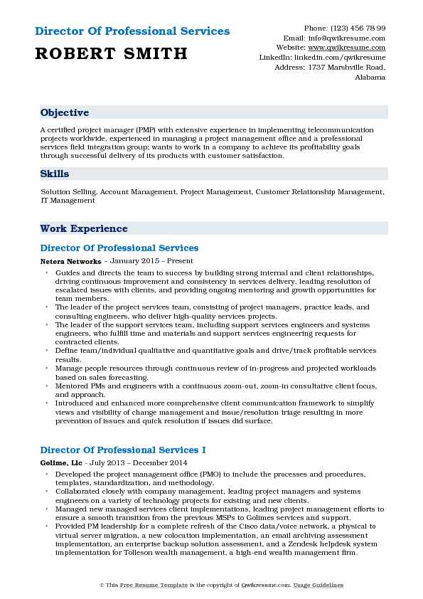 Director Of Professional Services Resume Sample