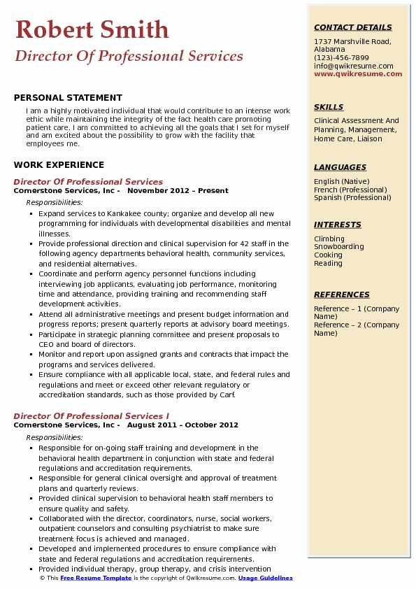 Director Of Professional Services Resume Format
