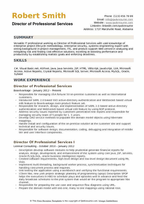 Director of Professional Services Resume example