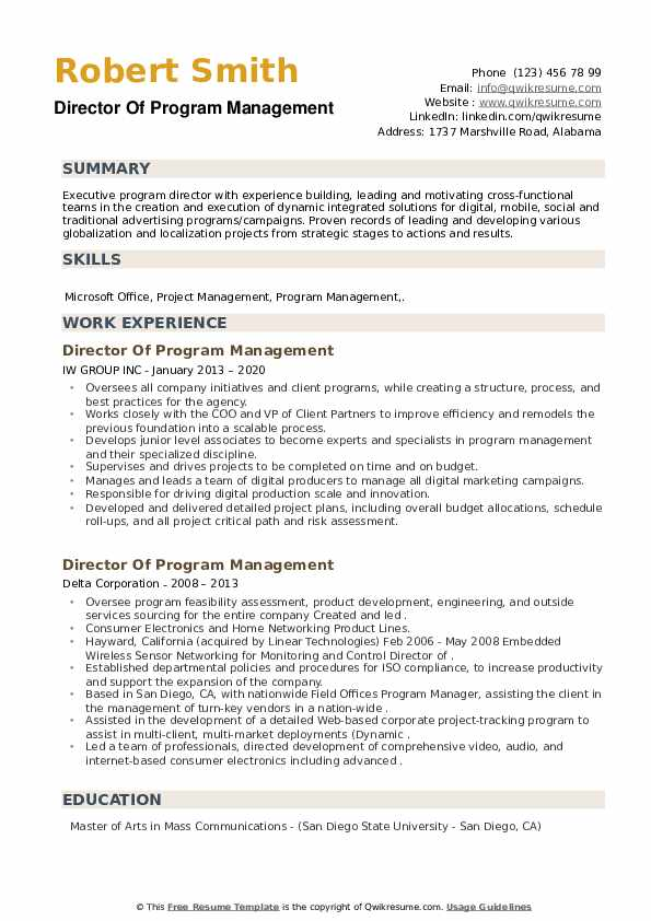 Director Of Program Management Resume example