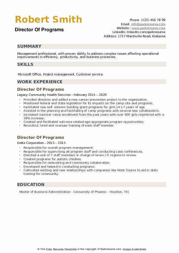 Director Of Programs Resume example