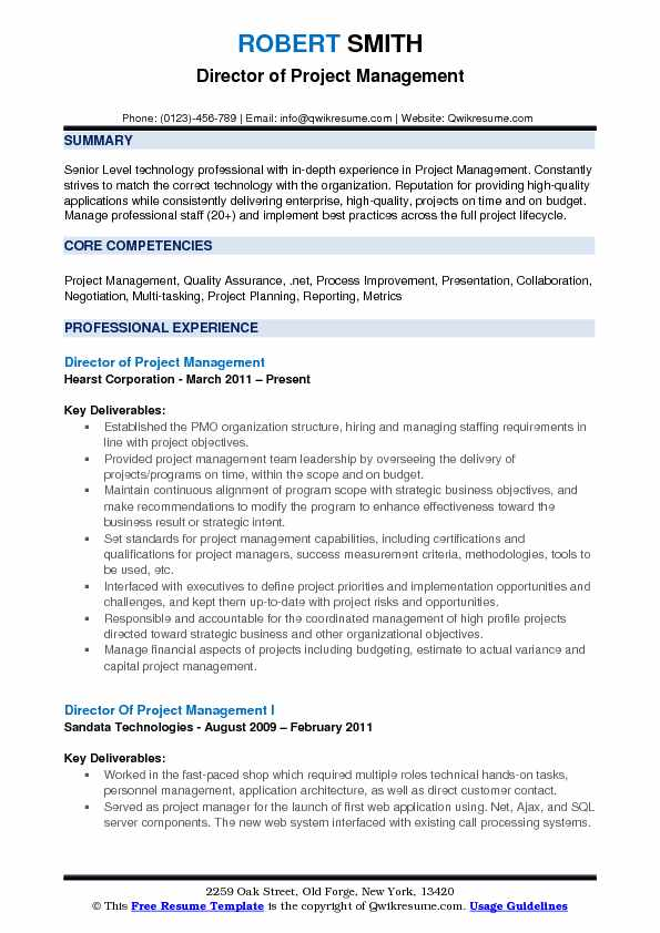 Director of Project Management Resume Sample