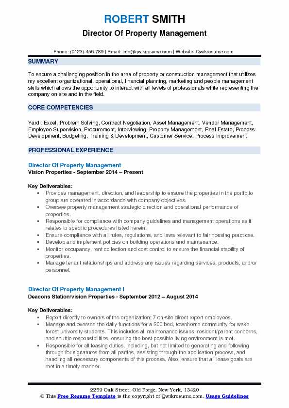 Director Of Property Management Resume Format