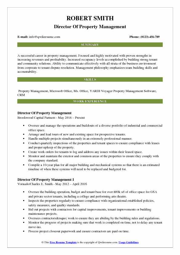 Director Of Property Management Resume Template