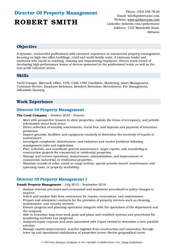 Director Of Property Management Resume Sample