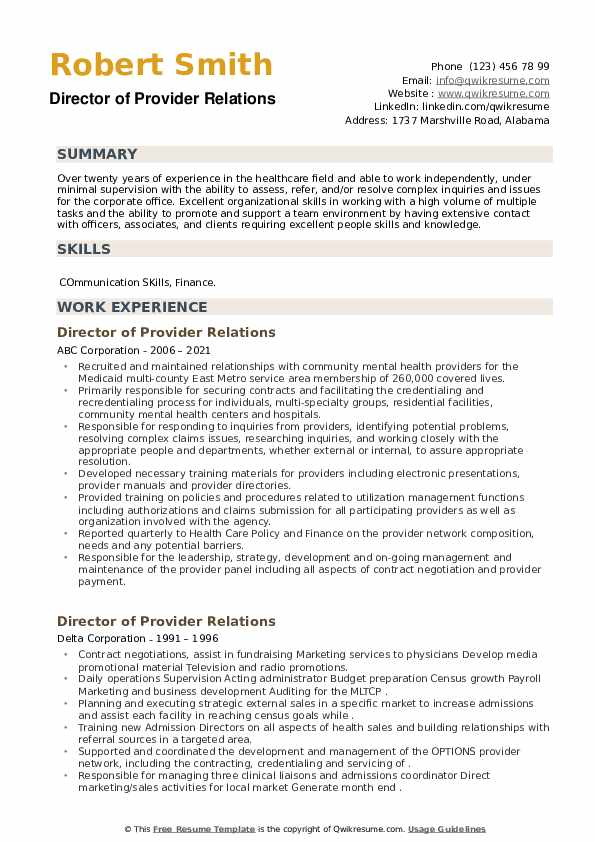 Director of Provider Relations Resume example
