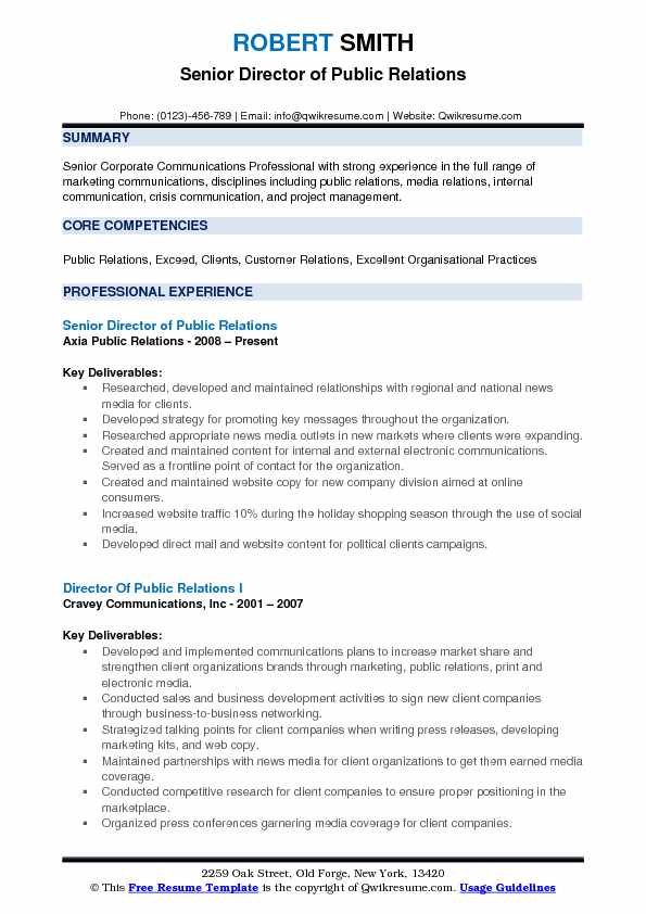 Senior Director of Public Relations Resume Template