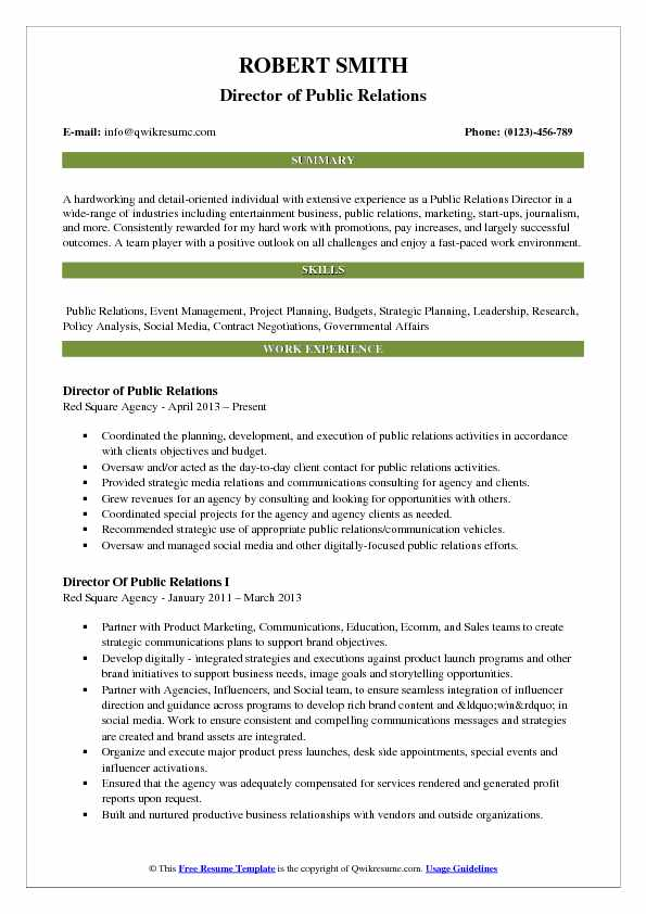 Director of Public Relations Resume Model