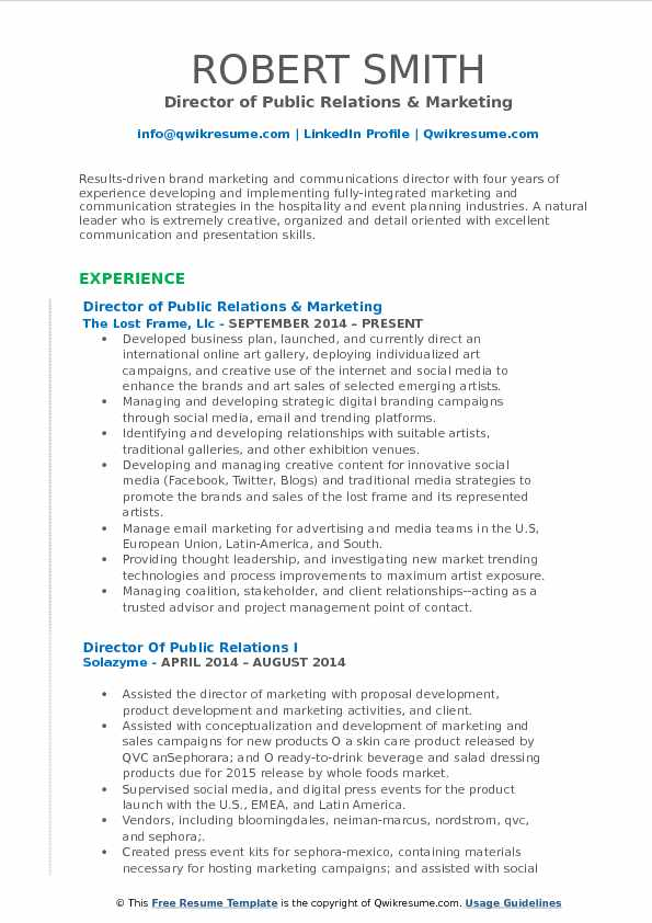 director of public relations resume samples