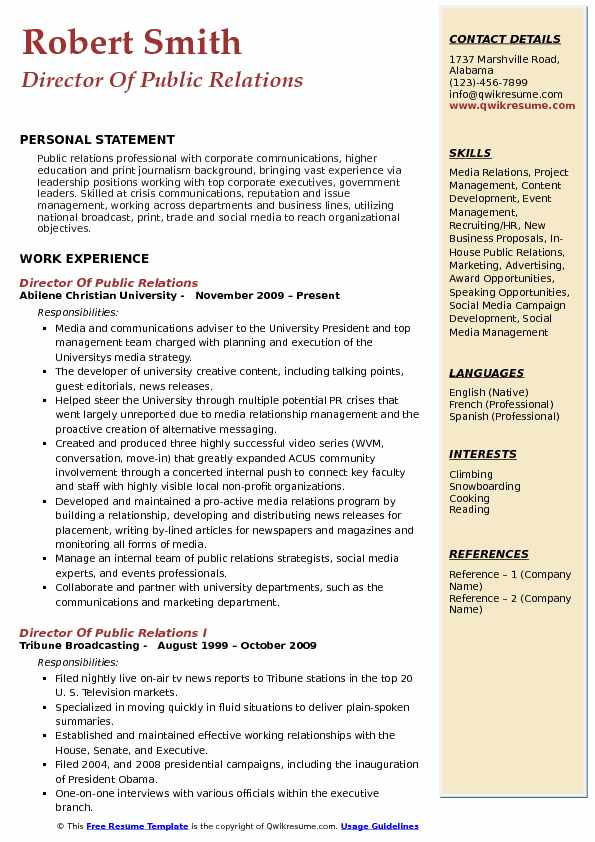 Director Of Public Relations Resume Sample