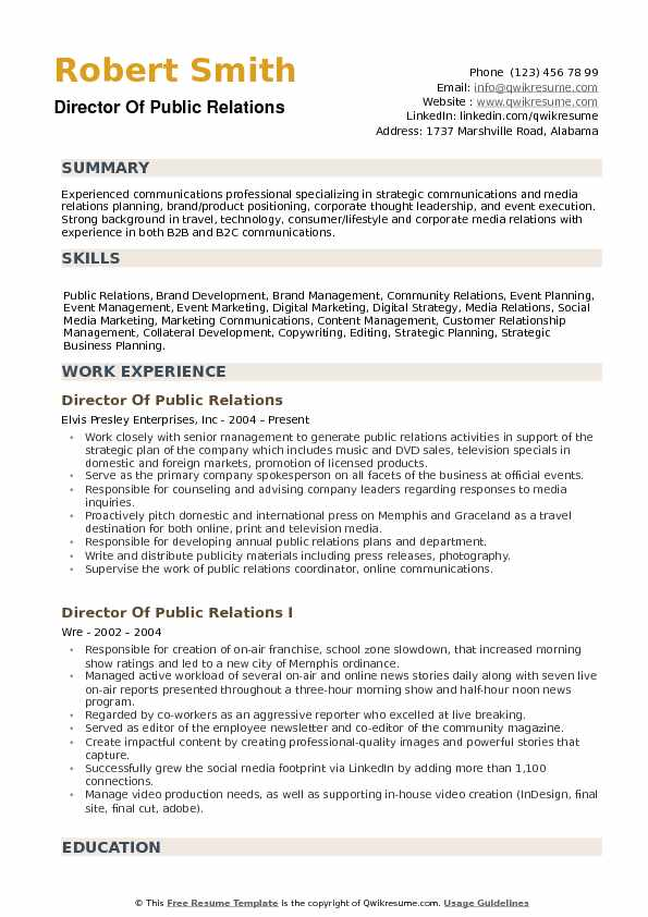 Director Of Public Relations Resume Example