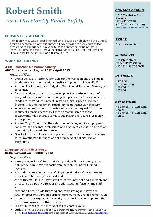 director of public safety resume samples