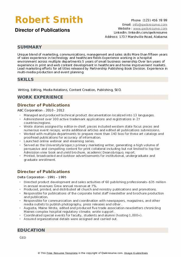 Director of Publications Resume example