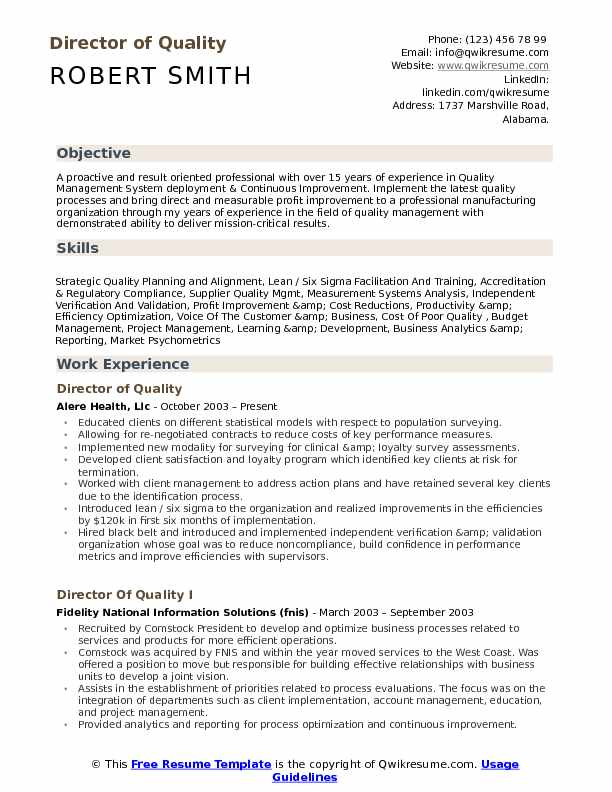 Director of Quality Resume Example