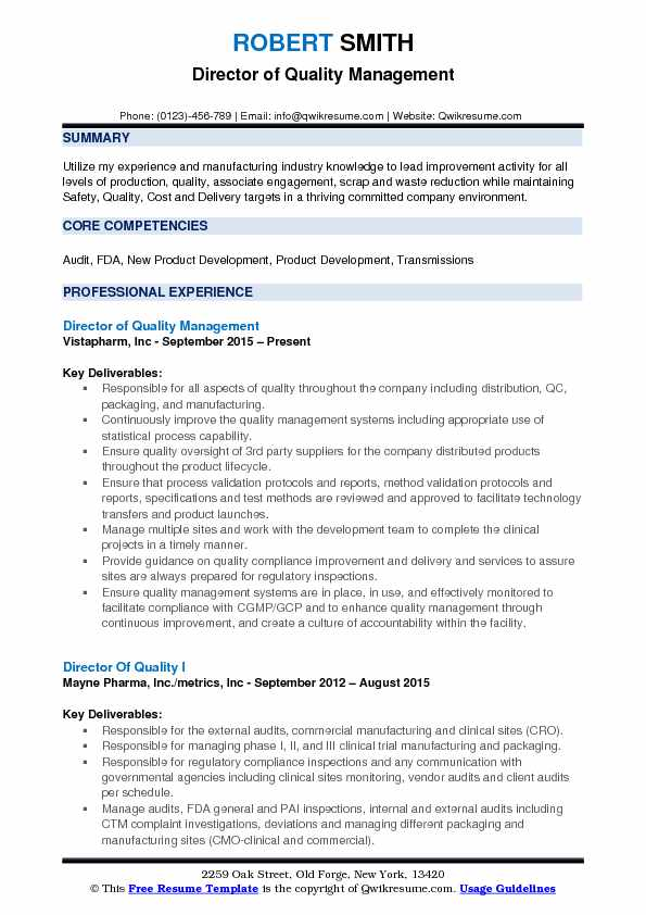 Director of Quality Management Resume Format