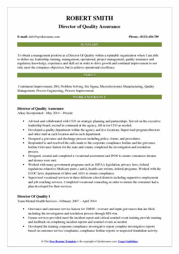 Director of Quality Assurance Resume Example